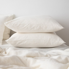 Off White Washed Bed Linen Pillow Case Crushed