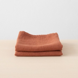 Set of 2 Rust Linen Waffle Hand Towels Washed