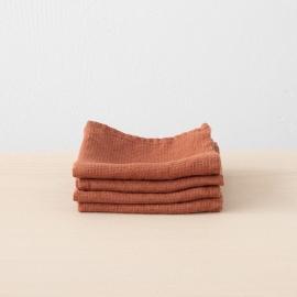 Set of 4 Brick Linen Wash Cloths  Waffle