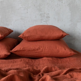 Brick Linen Pillow Case Stone Washed