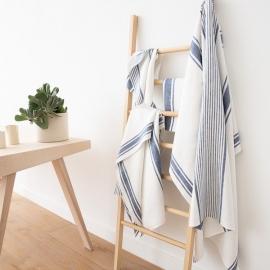 Linen Bath Towels Set Indigo Tuscany