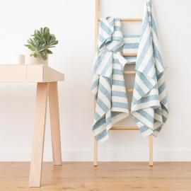 Linen Bath Towels Set Marine Blue Philippe