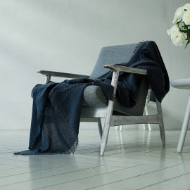 100% Cashmere Throw Eva Navy Blue