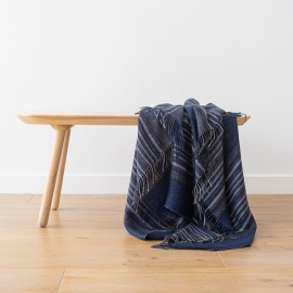 Indigo Stripe Linen Throw Paolo