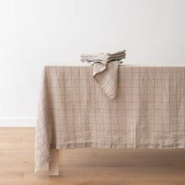 Washed Linen Tablecloth Natural Brick Window Pane