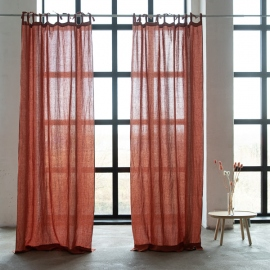 Linen Curtain Panel with Ties Brick Stone Washed