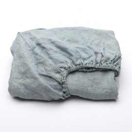 Stone Blue Linen Fitted Sheet Stone Washed Rhomb