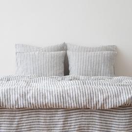 Indigo Washed Bed Linen Duvet Ticking Stripe