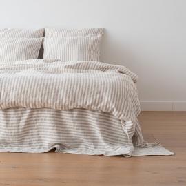 Natural Washed Bed Linen Duvet Ticking Stripe
