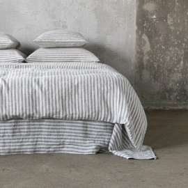 Graphite Washed Bed Linen Duvet Ticking Stripe