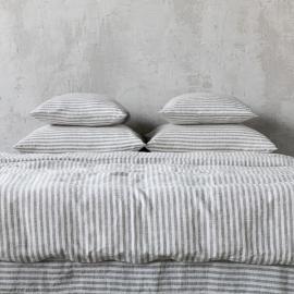 Graphite Washed Bed Linen Duvet Ticking Stripe