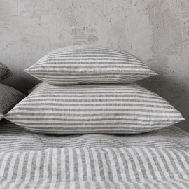 Graphite Washed Bed Linen Pillow Case Ticking Stripe
