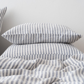Indigo Washed Bed Linen Pillow Case Ticking Stripe