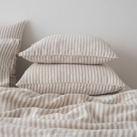 Natural Washed Bed Linen Pillow Case Ticking Stripe