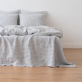 Indigo Washed Bed Linen Flat Sheet Ticking Stripe