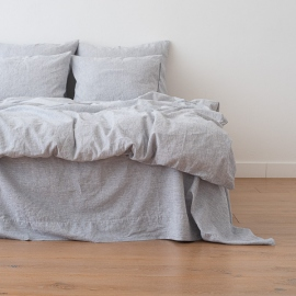 Indigo Washed Bed Linen Duvet Pinstripe