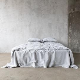Graphite Washed Bed Linen Duvet Pinstripe