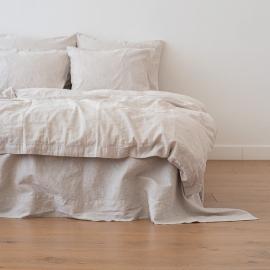 Natural Washed Bed Linen Duvet Pinstripe
