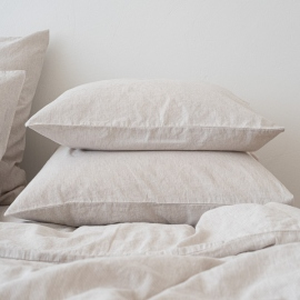 Natural Washed Bed Linen Pillow Case Pinstripe