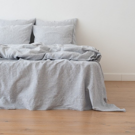 Indigo Washed Bed Linen Flat Sheet Pinstripe