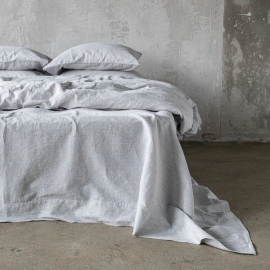 Graphite Washed Bed Linen Flat Sheet Pinstripe