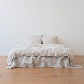 Natural Washed Bed Linen Flat Sheet Pinstripe