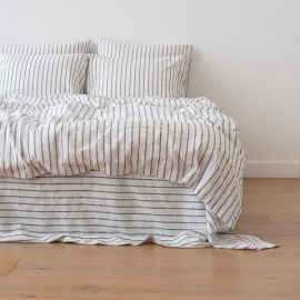 Indigo Washed Bed Linen Duvet Stripe