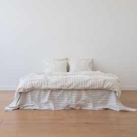 Natural Washed Bed Linen Duvet Stripe