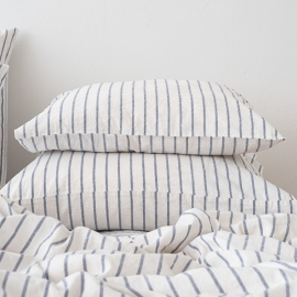 Indigo Washed Bed Linen Pillow Case Stripe