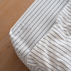 Indigo Washed Bed Linen Fitted Sheet Stripe