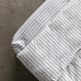 Graphite Washed Bed Linen Fitted Sheet Stripe