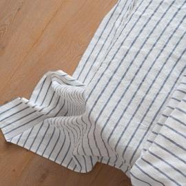 Indigo Washed Bed Linen Flat Sheet Stripe