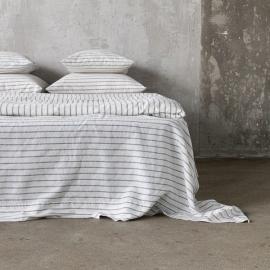 Graphite Washed Bed Linen Flat Sheet Stripe