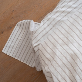 Natural Washed Bed Linen Flat Sheet Stripe