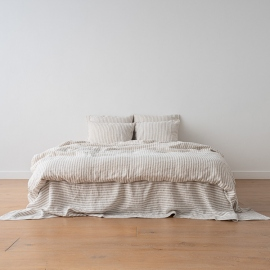 Natural Washed Bed Linen Bed Set Ticking Stripe