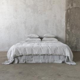 Graphite Washed Bed Linen Bed Set Ticking Stripe