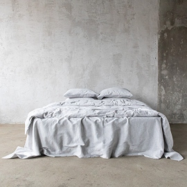 Graphite Washed Bed Linen Bed Set Pinstripe