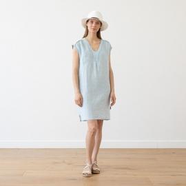 Sky Blue Melange Linen Dress Emily