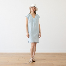 Sky Blue Melange Linen Dress Emily