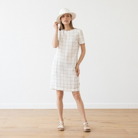 Off White Navy Window Pane Linen Dress Isabella