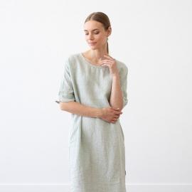 Moss Green Melange Linen Dress Nora