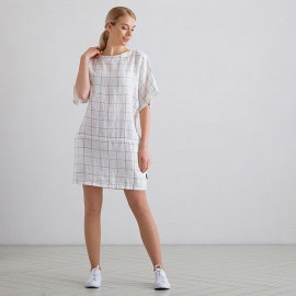 White Navy Window Pane Linen Tunic Dress Bianca