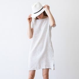 White Navy Checked Linen Dress Alice