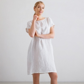 White Navy Stripe Medium Linen Dress Alice