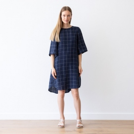 Navy Off White Window Pane Linen Dress Luisa