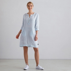Sky Blue Pinstripe Linen Dress Layla