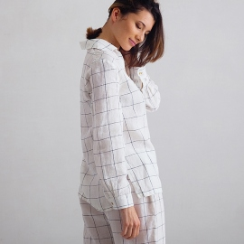 Off White Navy Window Pane Linen Pyjama Alma