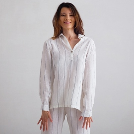 Off White Navy Stripe Large Linen Pyjama Alma