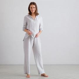 Silver Pinstripe Linen Pyjama Alma