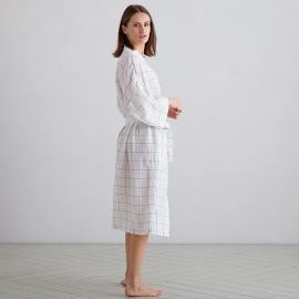 Off White Navy Window Pane Linen Bath Robe Alma